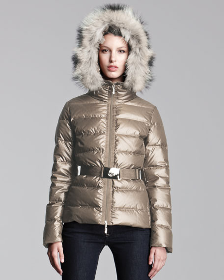 Fur-Hooded Metallic Belted Puffer Jacket