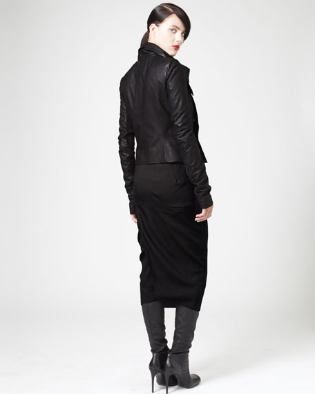 Back-Seam Pencil Skirt, Dust/Black