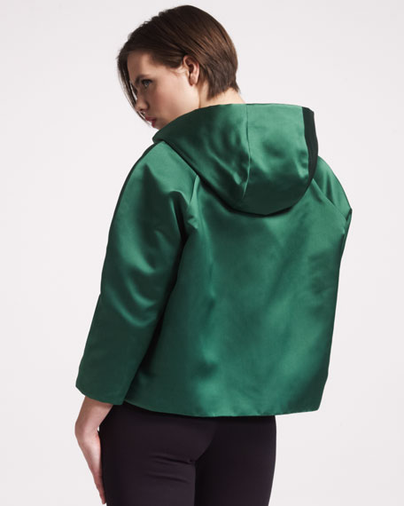 Hooded A-Line Silk Jacket