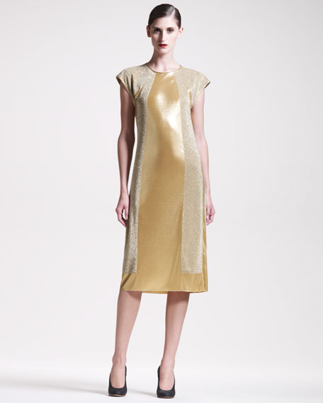 Metallic Jersey-Panel Dress