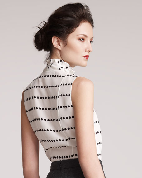 Sleeveless Dot-Striped Top