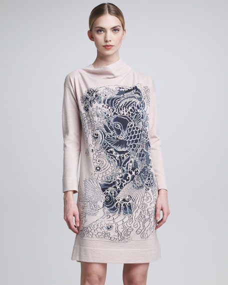 Koi-Embroidered Knit Dress & Scarf