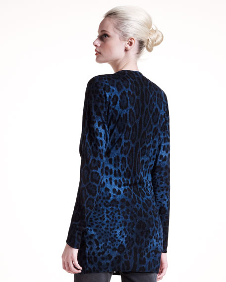 Long Leopard-Print Cardigan