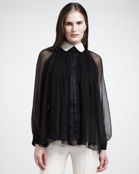 Silk Blouse With Tuxedo Collar