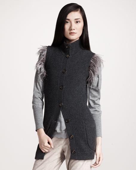 Feather-Shoulder Ribbed Cashmere Vest