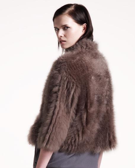 Cropped Fur/Cashmere Jacket