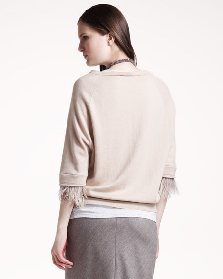 Feather-Trim Cashmere Sweater