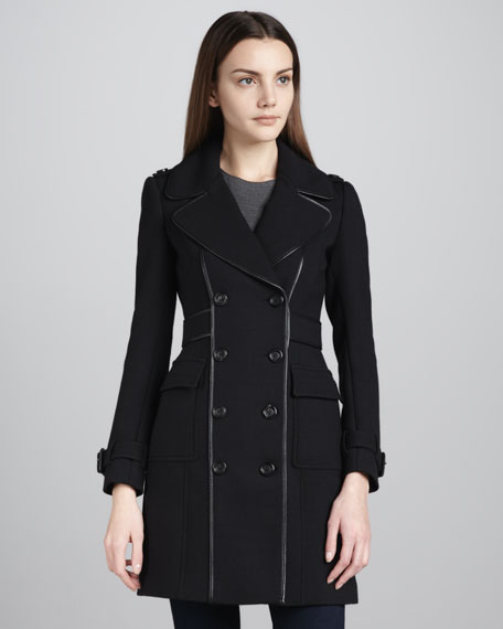Leather-Trim Stretch-Wool Coat