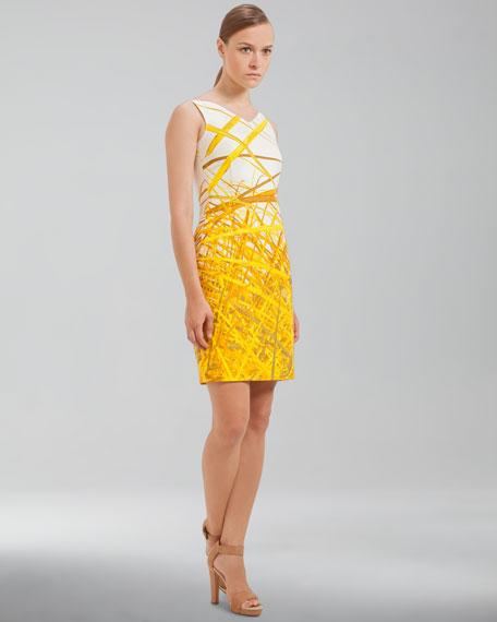 Reed-Print Double-Faced Dress, Pollen
