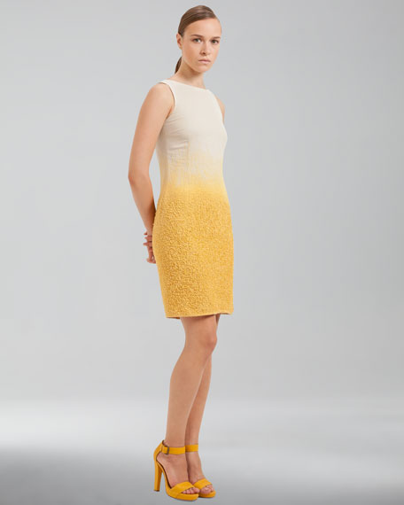 Ombre Boucle Sheath Dress, Pollen Cordage