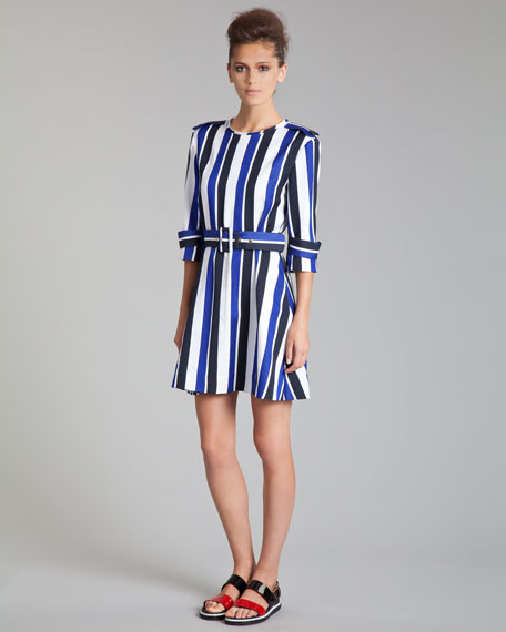 Striped Trench-Detail Dress