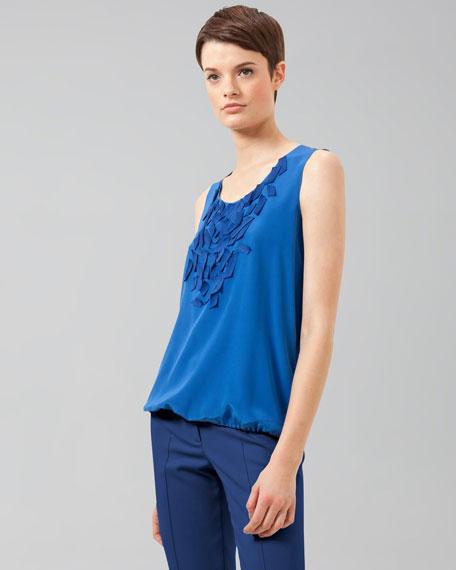 Embellished Silk Blouse, Royal