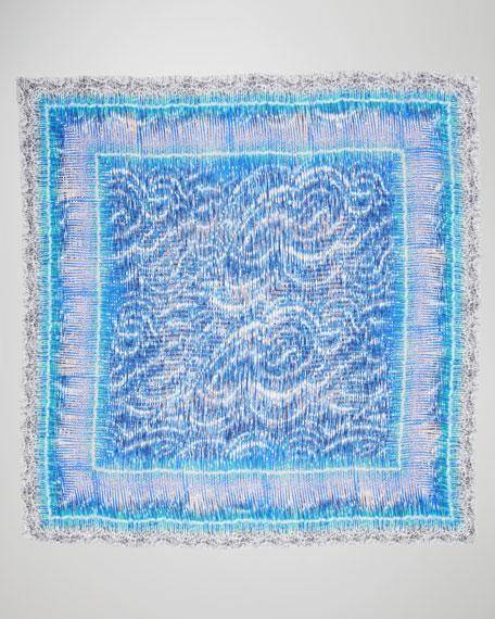 Torsion-Print Scarf, Blue