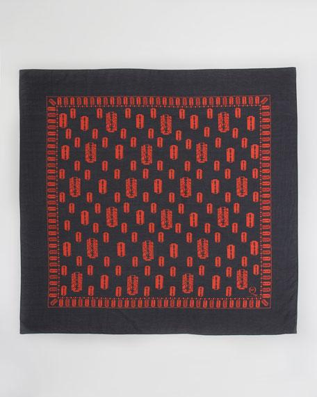 Razor Blade-Print Scarf, Black/Red