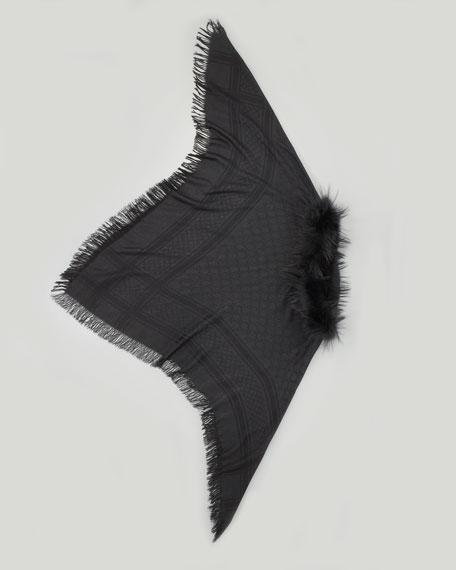 Fox Fur-Trimmed GG Poncho, Black
