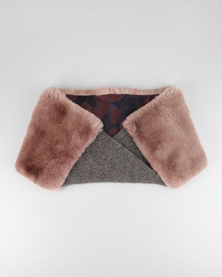 Rabbit Fur-Paneled Infinity Scarf