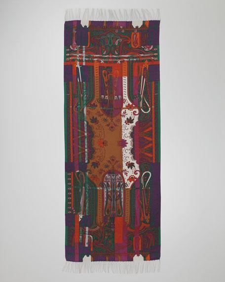 Striped Paisley-Print Stole