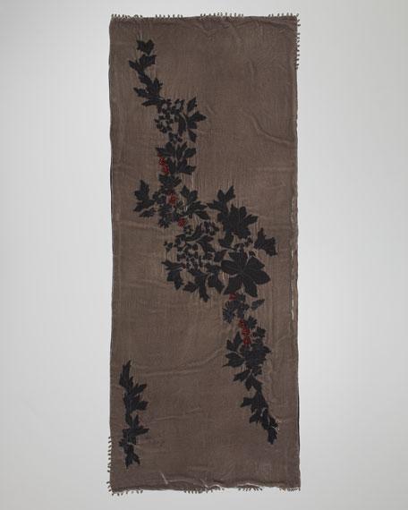 Floral-Trim Velvet Stole