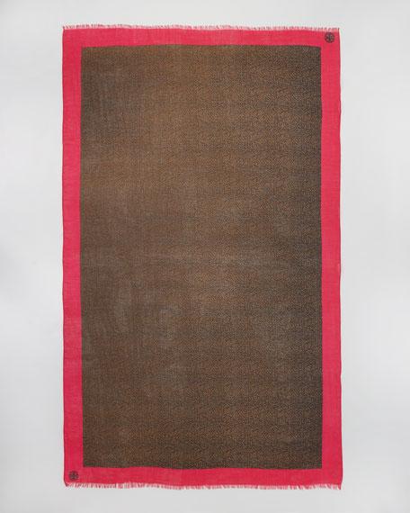 Dunraven Leopard-Print Scarf, Magenta