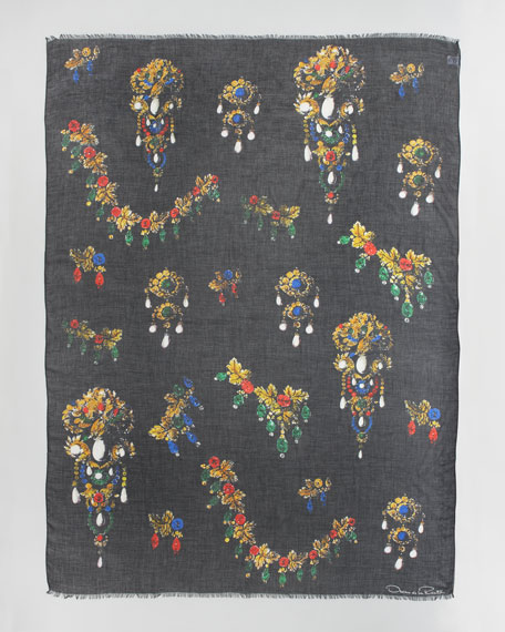 Bijoux Jewel-Print Scarf