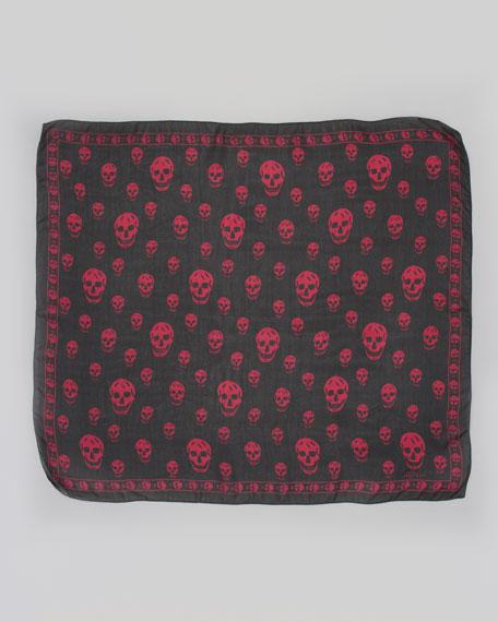 Skull-Print Chiffon Scarf, Black/Magenta