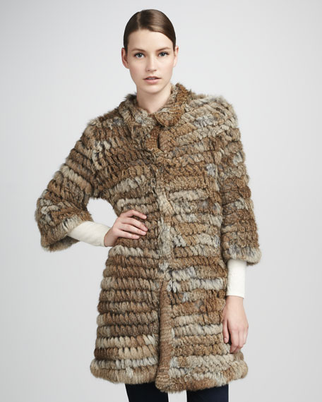 Knitted Rabbit Fur Coat, Natural
