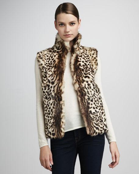 Leopard-Print Rabbit Fur Vest