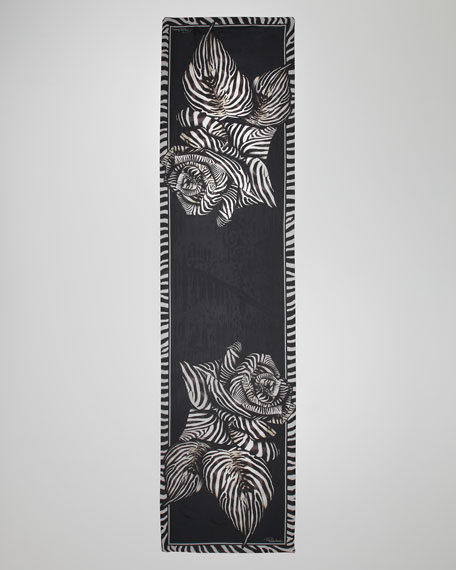 Extra-Long Ossidana Zebra-Print Scarf