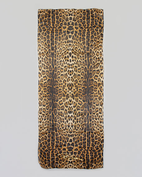 Leopard-Print Chiffon Stole