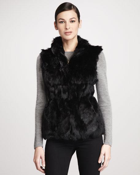 Candy Knit-Back Zip-Front Rabbit Fur Vest, Black