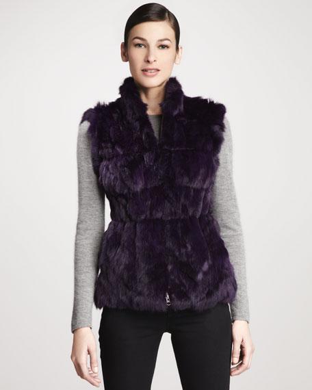 Candy Knit-Back Zip-Front Rabbit Fur Vest, Amethyst