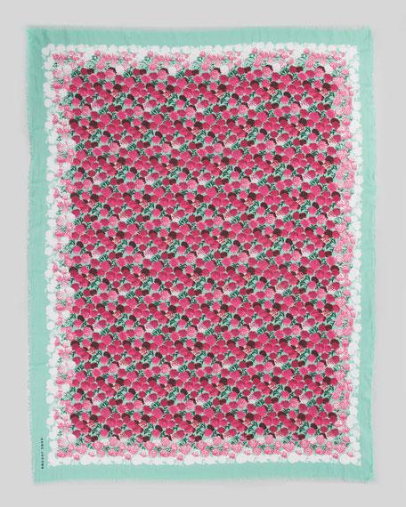 Floral-Print Scarf, Mint