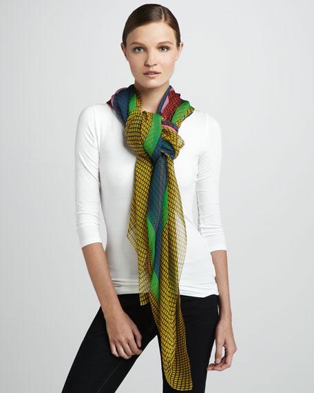 Square-Print Silk Chiffon Scarf