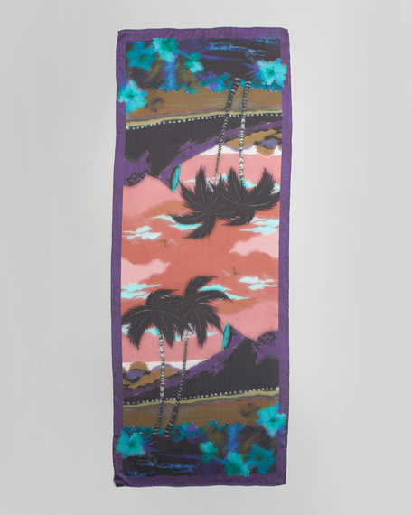 Rio Silk Voile Scarf, Purple