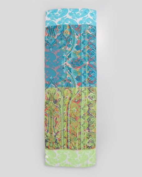 Paisley-Embroidered Chiffon Scarf, Blue/Green