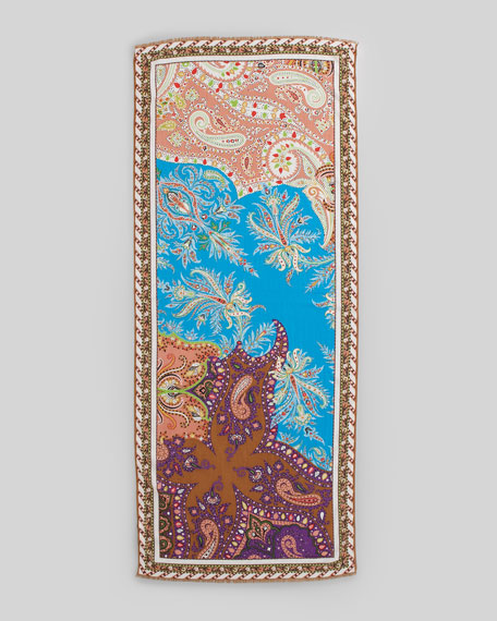 Classic Paisley Weave Scarf, Blue/Peach
