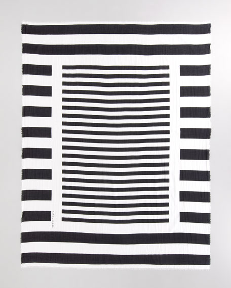 Striped Spring Cotton Scarf, Black/White