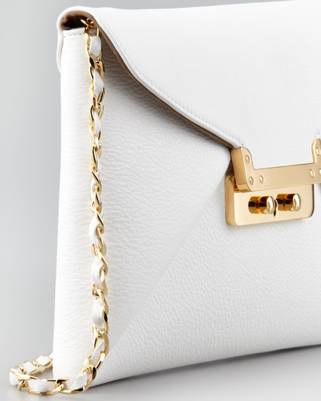 Prive Leather Clutch Bag, White