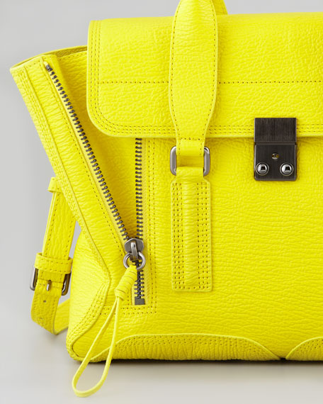 Medium Pashli Leather Satchel, Neon Yellow