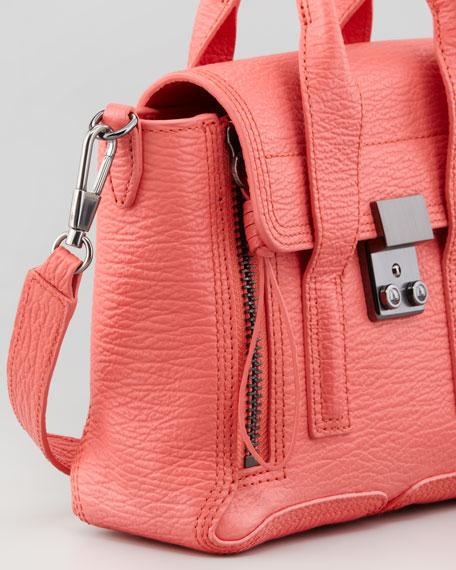 Mini Pashli Leather Satchel, Coral