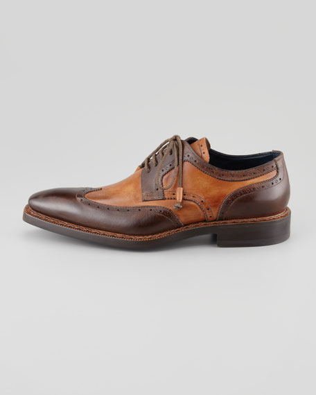Two-Tone Square-Toe Wing-Tip Blucher