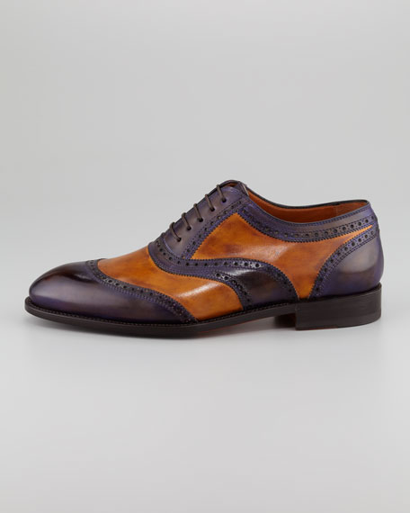Libertino3 U-Wing Two-Tone Lace-Up Brogue, Violet/Cognac