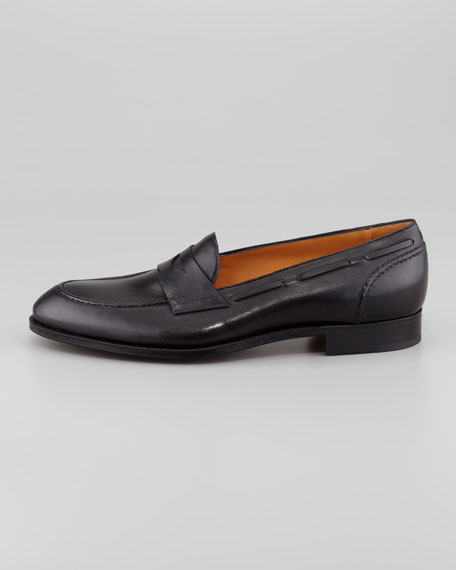 Laced Collar Penny Loafer, Black