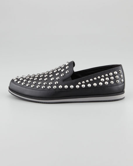 Studded Leather Slip-On