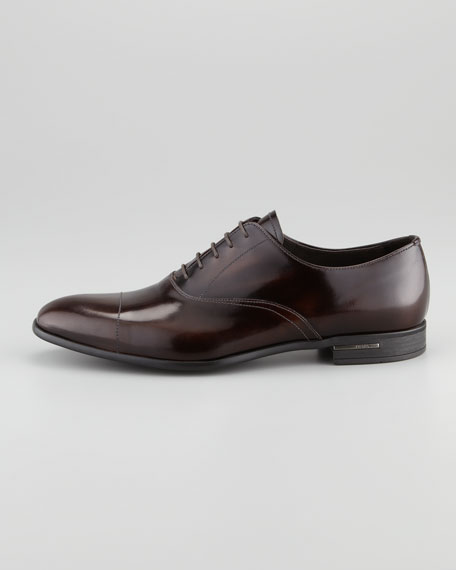 Spazzolato Cap-Toe Lace-Up, Red Brown