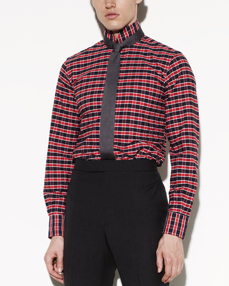 Mandarin-Collar Gingham Shirt