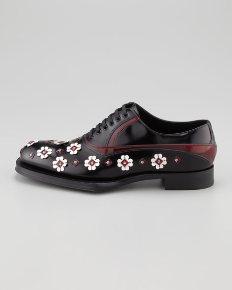 Runway Lace-Up With Flower Applique