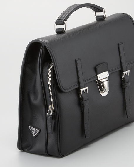 Buckled Saffiano Briefcase