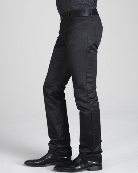 Satin-Finish Skinny Jeans