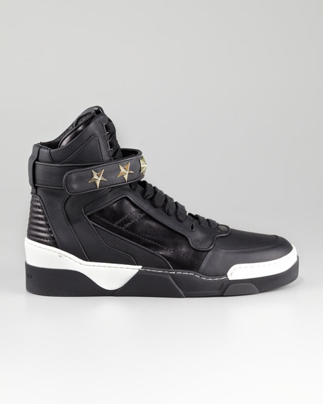 Leather Star-Studded Hi-Top Sneaker